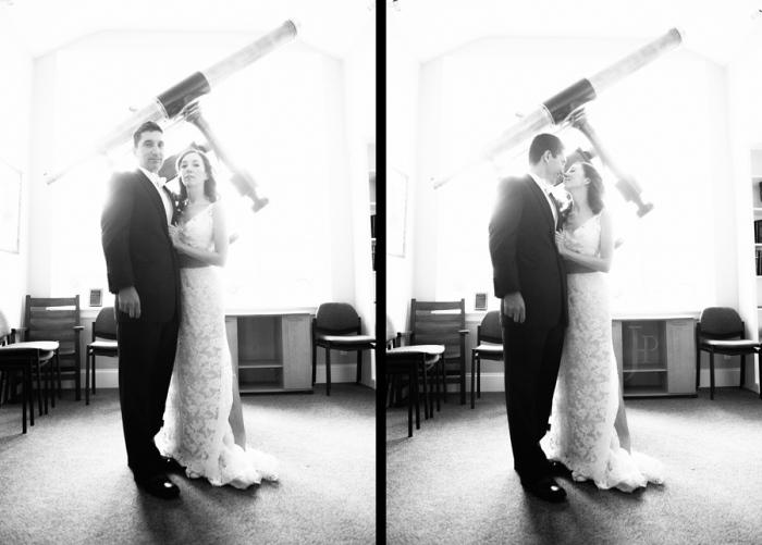 Жених и невеста с телескопом
