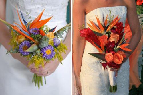 Букет невесты с райскими птичками
