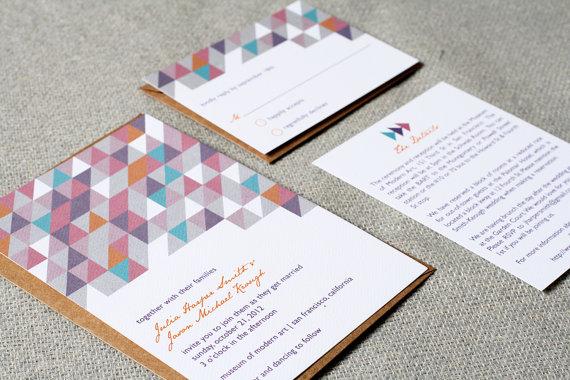 Приглашения на графичную свадьбу