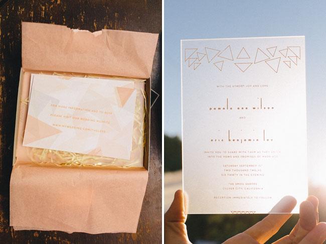 Геометрические свадебные приглашения