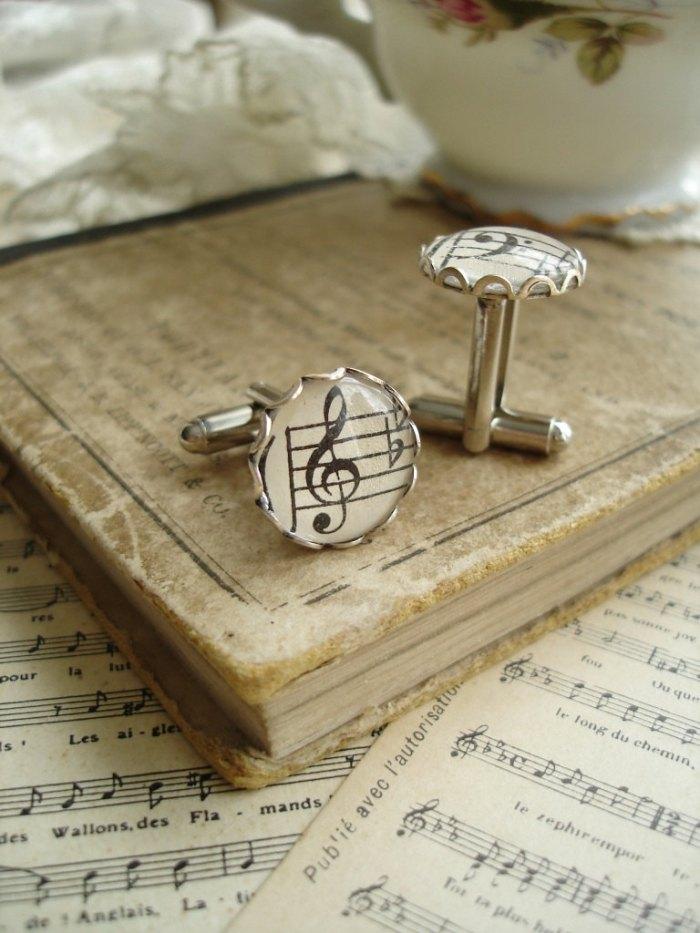 Запонки с нотами для жениха
