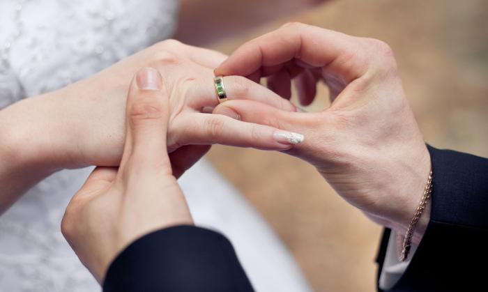 Жених одевает кольцо нвесте