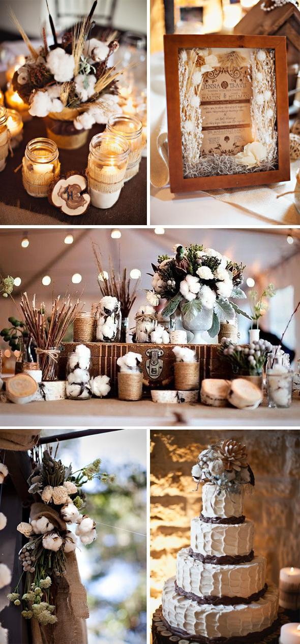 Хлопковый декор на свадьбе